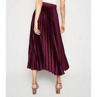 Plum Pleated Satin Midi Skirt New Look