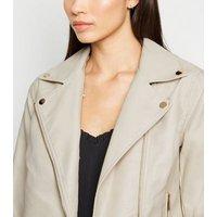 Cream Leather-Look Detachable Faux Fur Collar Jacket New Look Vegan