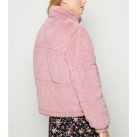 Pink Ribbed Faux Fur Jacket New Look