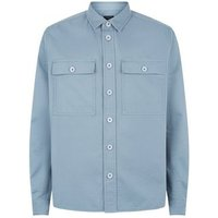 Blue Button Up Lightweight Jacket New Look