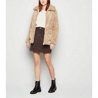 Dark Brown Pocket Cord Mini Skirt New Look
