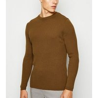 Brown Long Sleeve Muscle Fit Jumper New Look