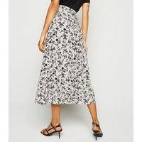 Stone Floral Wrap Midi Skirt New Look