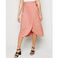 Pink Spot Wrap Midi Skirt New Look