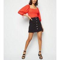 Black Button Up A-Line Denim Skirt New Look
