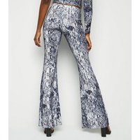 Off White Snake Print Glitter Flared Trousers New Look