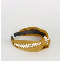 Mustard Faux Pearl Knot Alice Band New Look