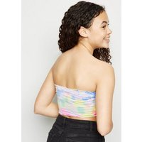 Girls Multicoloured Tie Dye Shirred Bandeau New Look