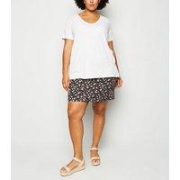 Curves Off White Split Hem T-Shirt New Look