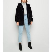 Tall Black Faux Fur Hooded Bomber Jacket New Look