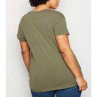 Curves Khaki Washed Short Sleeve T-Shirt New Look