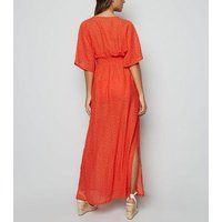Red Spot Split Hem Maxi Beach Dress New Look