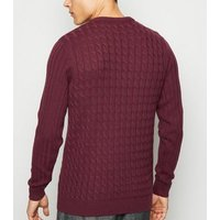 Burgundy Muscle Fit Cable Knit Jumper New Look