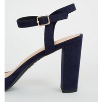 Navy Suedette 2 Part Platform Sandals New Look