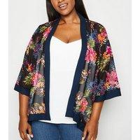 Mela Curves Multicoloured Floral Kimono New Look