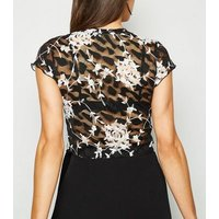 Black Floral Mesh Lace T-Shirt New Look