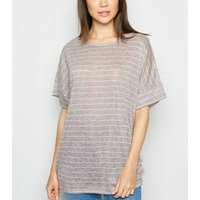 Apricot Light Grey Stripe Oversized Top New Look