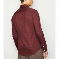Men's Burgundy Bee Embroidered Muscle Fit Oxford Shirt New Look