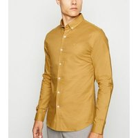 Yellow Bee Embroidered Muscle Fit Oxford Shirt New Look