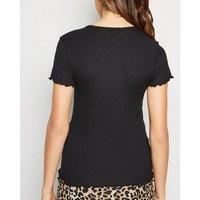 Black Crinkle Frill Trim T-Shirt New Look