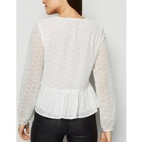White Embroidered Tie Front Blouse New Look