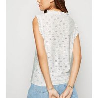Off White Broderie Frill Top New Look