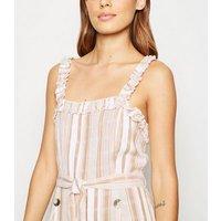 Influence White Stripe Button Front Midi Dress New Look