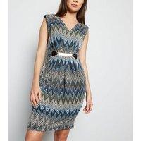 Mela Multicoloured Chevron Belted Dress New Look