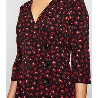 Blue Vanilla Red Heart Button Wrap Dress New Look