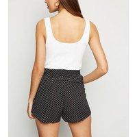 Brave Soul Black Spot Tie Waist Shorts New Look