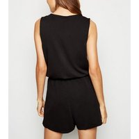 Brave Soul Black Tie Front Playsuit New Look
