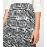 Light Grey Check Brushed Zip Mini Skirt New Look