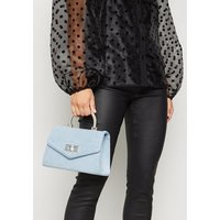 Pale Blue Suedette Top Handle Shoulder Bag New Look Vegan