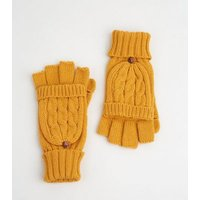 Mustard Cable Knit Flip Top Gloves New Look