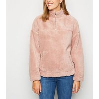 Mid Pink Teddy Zip Neck Sweatshirt New Look