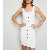 Cameo Rose White Frill Strap Dress New Look