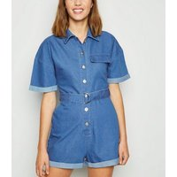 Cameo Rose Bright Blue Denim Utility Playsuit New Look