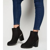 Wide Fit Black Suedette Cleated Ankle Boots New Look Vegan