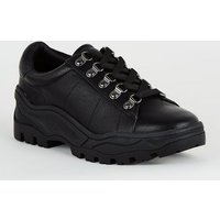 Girls Black Leather-Look Chunky Trainers New Look