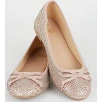 Girls Rose Gold Glitter Ballet Pumps New Look