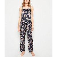 Blue Floral Satin Pyjama Cami New Look