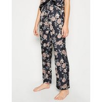 Blue Floral Satin Pyjama Trousers New Look