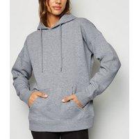 Grey Long Sleeve Jersey Hoodie New Look