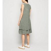 Blue Vanilla Khaki Polka Dot Layered Dress New Look