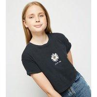 Girls Dark Grey Acid Wash Daisy Slogan T-Shirt New Look