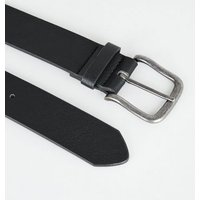 Black Leather-Look Buckle Jeans Belt New Look