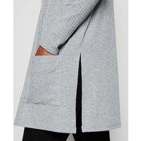 Grey Marl Ribbed Side Split Cardigan New Look