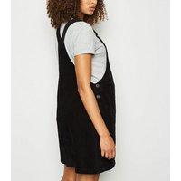 Maternity Black Corduroy Pinafore Dress New Look