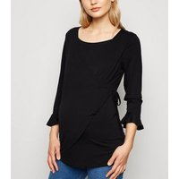 Maternity Black 3/4 Sleeve Nursing Top New Look