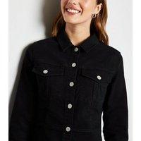 Black Long Sleeve Denim Bodycon Dress New Look